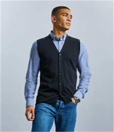 Russell Sleeveless Cotton Acrylic V Neck Cardigan