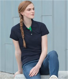 Henbury Ladies Contrast Poly/Cotton Piqué Polo Shirt