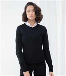 Henbury Ladies Acrylic V Neck Sweater